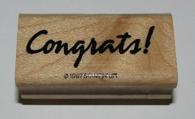"""Congrats Rubber Stamp Stampin Up Wood Mounted Retired Design 2"""" Long"""