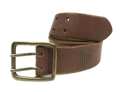AMERICAN EAGLE Brown leather HEART embellished Size XS Double Prong Belt