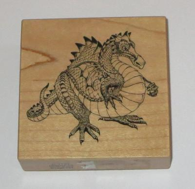 Mystic Dragon Rubber Stamp PSX Mythical Creature Wood Mounted