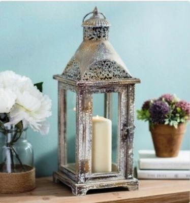 Antique Metal Dome Lantern Elegantly Distressed Home Accent