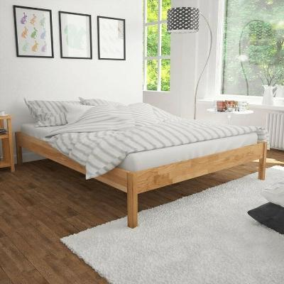 100 Solid Oak Wooden Frame Queen Size Bed Brown Modern