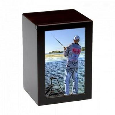 Large/Adult 150 Cubic In. Fisherman Photo Frame MDF Wooden Funeral Cremation Urn