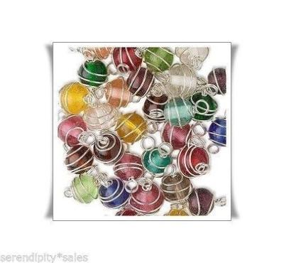 50 Silver WIRE Spiral WRAPPED GLASS BEADS 8mm Round w/ 2 End Loops ~ Color Mix