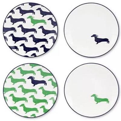 4 Kate Spade New York Wickford Dachshund Dog Tidbit Plate Set Green Blue New