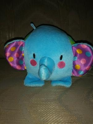 """Fisher Price Elephant Plush Rattle 7"""" Lovey Ball Blue Green Y5513 Crinkle..."""