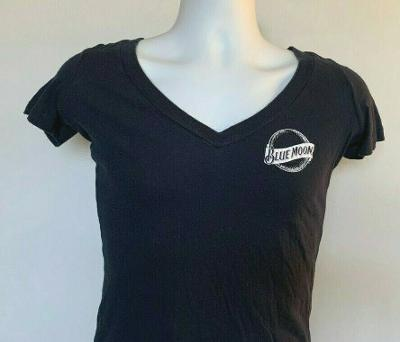 Blue Moon Brewing Co Beer V Neck T shirt Womens Small 100% Cotton