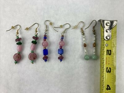 """Lot of 3 Pink Blue and Green Glass Bead Handmade Earrings 2"""""""