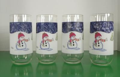 Thomson Pottery SNOWMAN Glass Tumbler (s) LOT OF 4 Blue Speckles Christmas