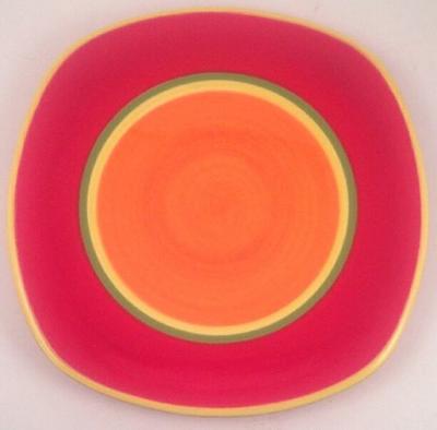 "Dansk CARIBE-ARUBA ORANGE 8-3/4"" Square Salad Plate"