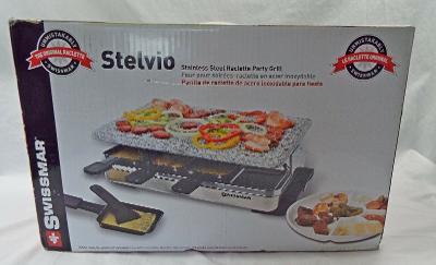 Swissmar Stelvio Stainless Steel Raclette Party Grill Granite Plate New Open Box