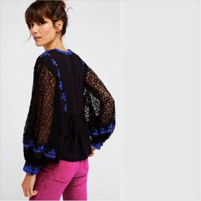 Free People Boogie All Night Blouse Black Small S OB756129 NWT New