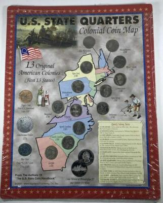 Complete Set of 13 US Original Colony Quarters on West Highland Pub Colonial Map