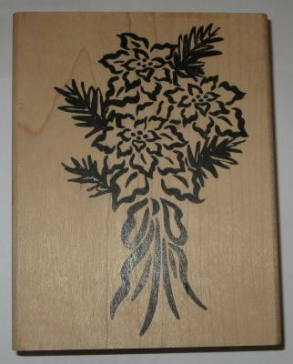 "Poinsettia Flower Bouquet Rubber Stamp 4.5"" High Large Flowers Pine Branches"