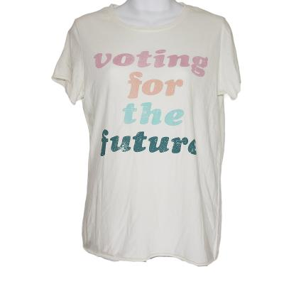 Womens Light Beige Voting For The Future Short Sleeve Graphic T Shirt Top Size S