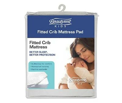 """Fitted crib mattress pad cover standard waterproof 52""""x 28"""" white"""