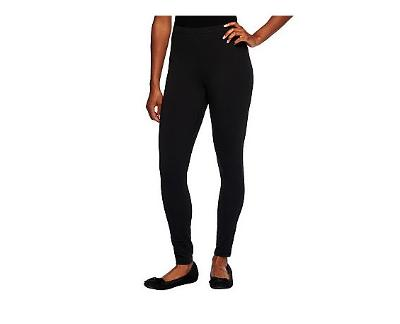 Women with Control Regular Fit Pull-on Knit Leggings Black, Small A235949