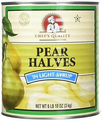 Chefs Quality Pear Halves In Light Syrup, 106 Ounce