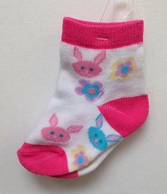 NWT BUNNY & FLOWER SOCKS Size 2 - 4 Toddler Baby CUTE