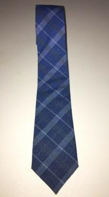 Edit Tie Bar Blue White Gray Plaid Mens Necktie 2.5 Inches Wide 59 Inches Long