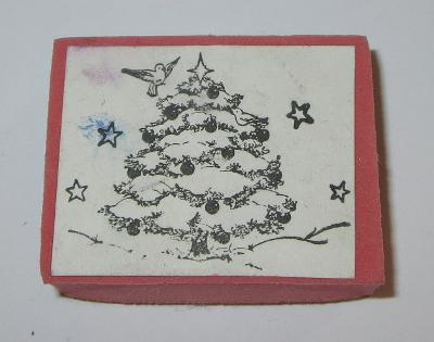 Christmas Tree Rubber Stamp Bird Stars Ornaments Foam Mounted Holidays