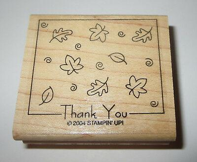 Thank You Rubber Stamp Leaves Stampin Up Wood Mounted Retired