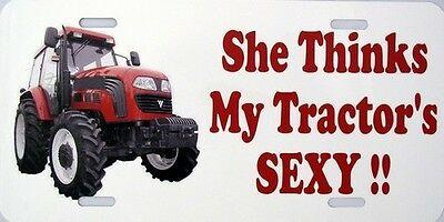 She Thinks My Tractor's Sexy Vanity Metal Novelty License Plate