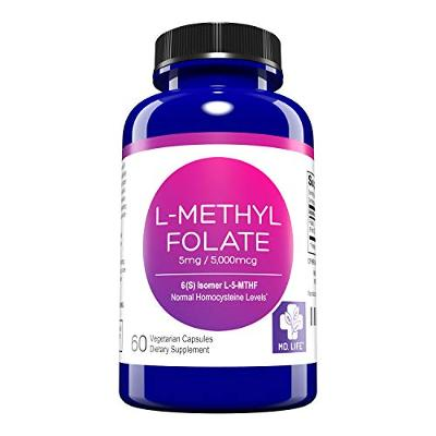 MD. Life L-Methylfolate 5 mg Active Folate 5 Mthfr Support Supplement Professio