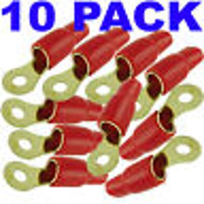 0/1 Gauge Wire 10 Pack Gold Ring Terminal Stud Crimp Connector Red 0 AWG