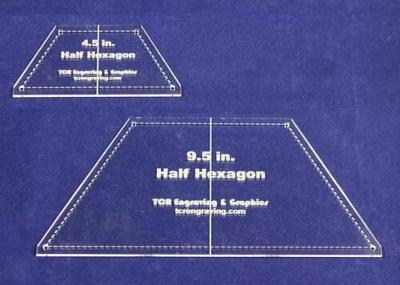 "Half Hexagon Quilt Templates 4.5"" & 9.5"" - Clear w/ Center Guideline & Guideline"