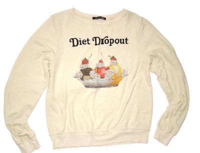 Wildfox Diet Dropout womens cozy Sweatshirt size Small