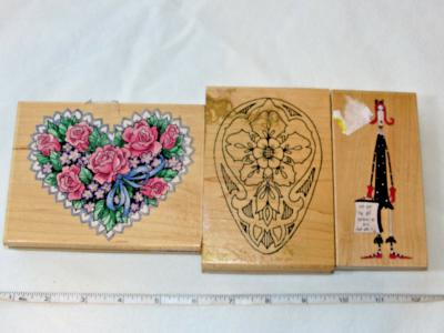 Various Wood Mount Stamp lot includes 3 rubber stamps heart floral Pre-owned