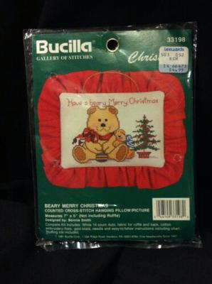 Beary Merry Christmas Bear Counted Cross Stitch Hanging Pillow Vtg Bucilla NEW