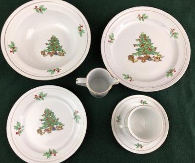 Tienshan China Holiday Hostess Christmas Tree Holly Dinner ware