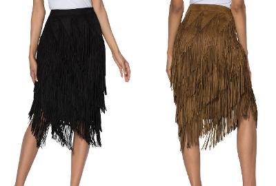 Brown Vegan Suede Slanted Fringe Wide Waist Skirt Size 18W & 20W Plus Size