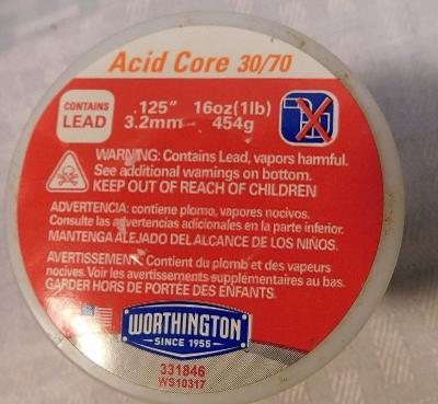 WORTHINGTON 331846 Leaded 30/70 Acid Core Solder, Dia 0.125 (3.2mm) In, 1lb