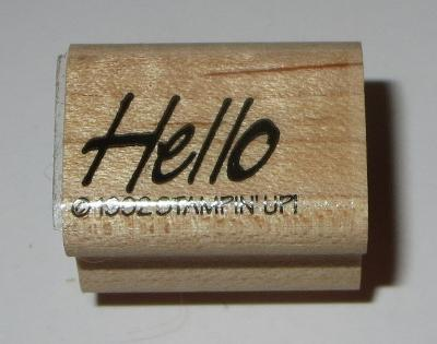 Hello Rubber Stamp Stampin' Up! Retired Saying Hi Greetings Wood Mounted
