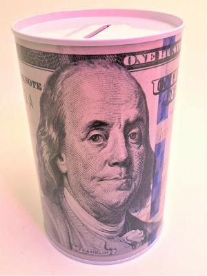 Ben Franklin $100 Bill Money Coin Saver Tin Money Savings Piggy Bank