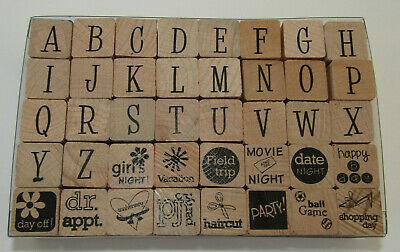 Rubber Stamp Set Alphabet Girls Night Party Dr Appt Haircut Vacation Movie Ball