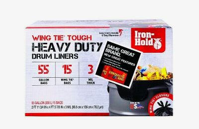 Iron Hold 55 gal. CONTRACTOR BAGS Wing Tie 15 pk Heavy Duty Tough Jobs 1652987