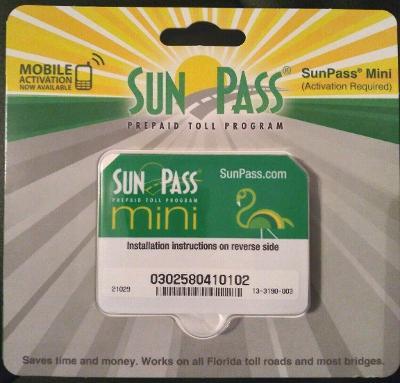 *NEW* SunPass MINI Transponder Sticker Florida Prepaid Toll Program Toll Roads
