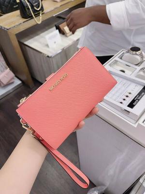 NWT Michael Kors Jet Set Travel Double Zip Phone Wristlet MK Grape Fruit Pink