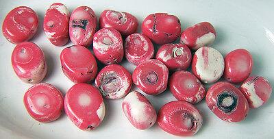 22 Coral Beads Natural Pink White & Black Tabular Coin Shape 18 - 20 mm