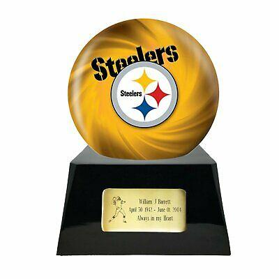 Large/Adult 200 Cubic Inch Pittsburgh Steelers Metal Ball on Cremation Urn Base