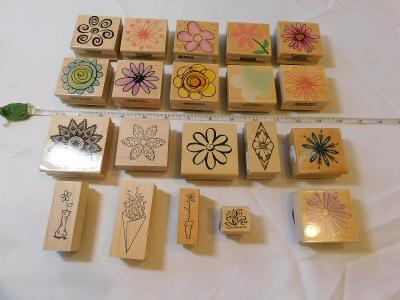 Lot of Misc Wood Mount Stamp Set includes 20 rubber stamps Scrap-booking Flowers