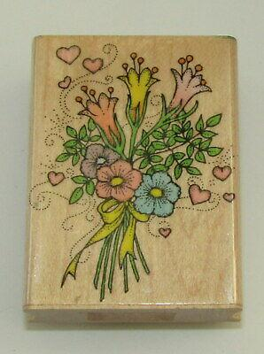 """Flower Bouquet Rubber Stamp Hero Arts Wood Mounted 2 3/8"""" High #2"""