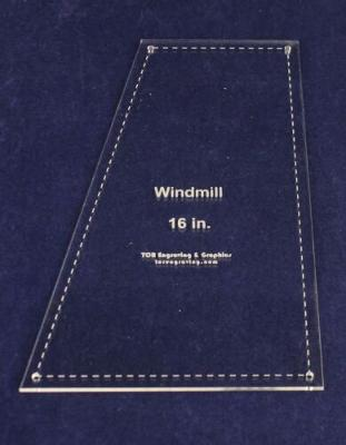 "Windmill - Makes 16"" Finished Square-- 1/8"" Clear Acrylic - Quilting Templates-"