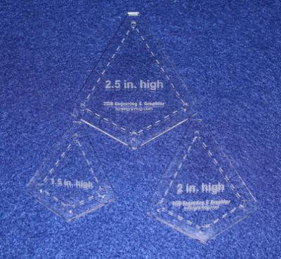 """Quilting Template -3 Piece Small """"Kite"""" Shape Set - 1/8"""" Clear Acrylic"""