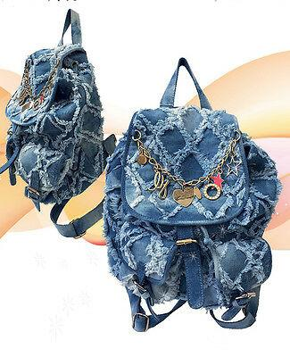 Blue Jean Backpack Purse Handbag Frayed Faded Washed Fashion Rucksack Bookbag