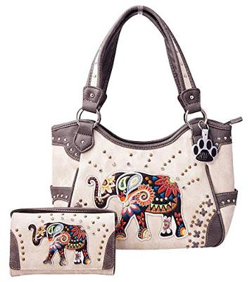 HW Collection Elephant Purse Concealed Carry Embroidered Western Handbag and Wal
