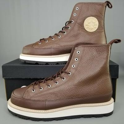 Converse Chuck Taylor Crafted Boot Hi Mens Size Leather 9-Eye Brown White